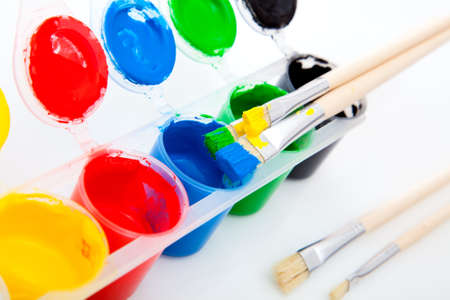 washable: Water based paints and brush, isolated on a white background