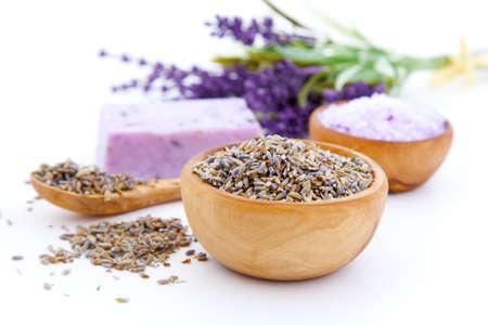 Lavender dry flowers, bath salt isolated on white background