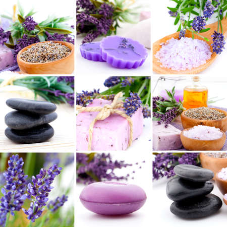 aromatherapy: Lavender collage with nine photos, Spa stones