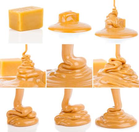 set of liquid caramel, isolated on white background