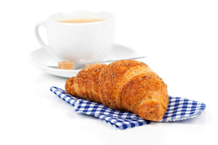 caffee: Croissant with caffee cup. Isolated on white backgroun Stock Photo