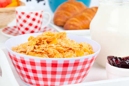 Cornflakes in a porcelain bowl on table photo
