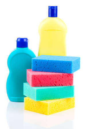 Plastic detergent bottles with sponges photo