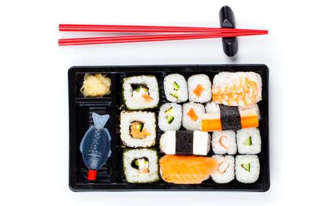 bento box: Sushi bento box, isolated on white background Stock Photo