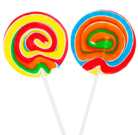 two large lollipop on stick isolated on white photo