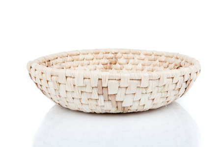 homeware: wicker basket, isolated on a white background