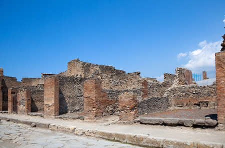 ancient Roman city of Pompeii, which was destroyed and buried by ash during the eruption of Mount Vesuvius in 79 ad photo