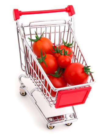 ful: a Shopping cart full of tomatoes on a white background