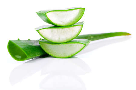 aloe vera fresh leaf. isolated over white photo
