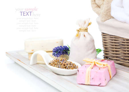 sachets: closeup of lavender soap and scented sachets with dry lavender flower