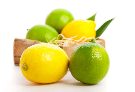 Fresh lemon and lime, Isolated on white background photo