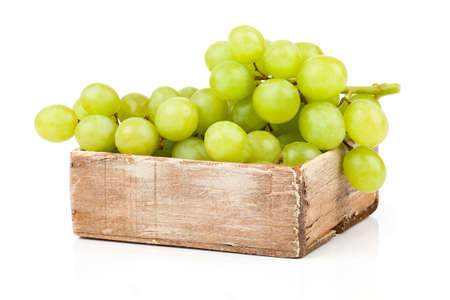 Green grapes in wooden box, Isolated on white backgroun Stock Photo - 22932667