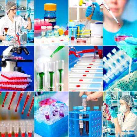 Work in the microbiology laboratory, medical research set Stock Photo