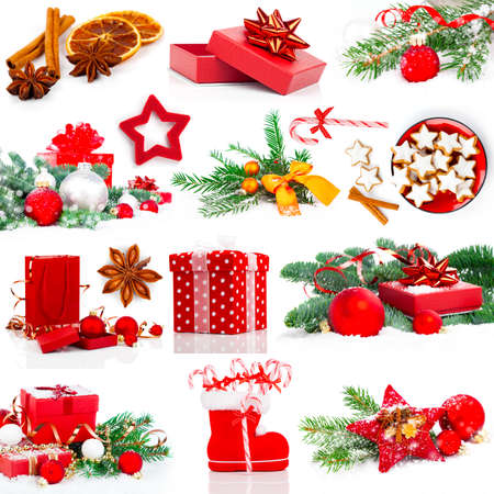 x mas: Christmas decoration set,  isolated on white Stock Photo