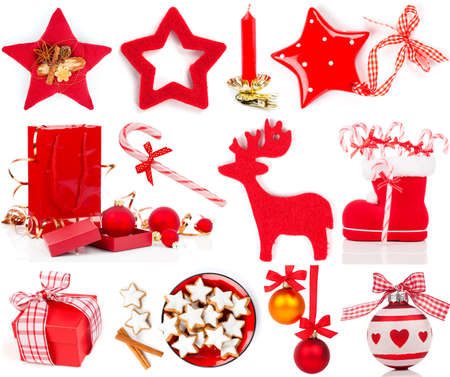 Christmas decoration set,  isolated on white photo