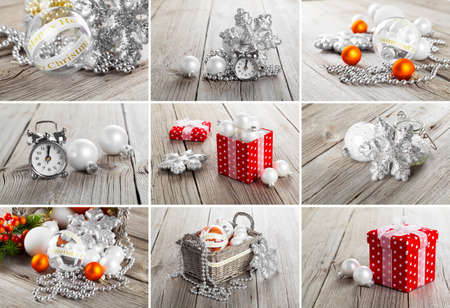 glitzy: Collage of christmas photos over grey wood background