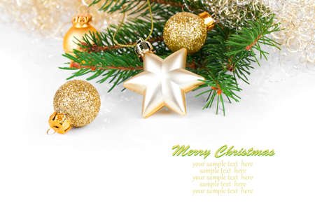 golden xmas decoration with copy space photo