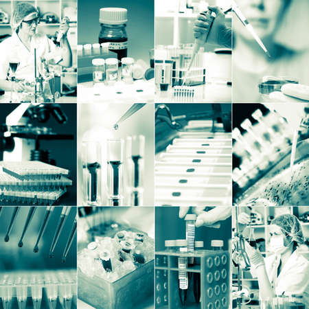 microbiology: Work in the microbiology laboratory, medical research set Stock Photo