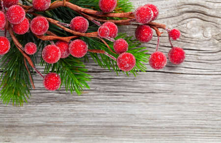 holiday: Christmas wreath on a wooden background Stock Photo
