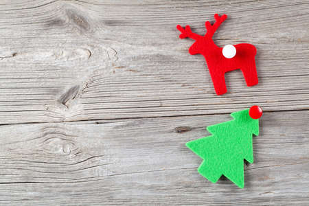 Christmas decoration on wood background, with free space for your text photo