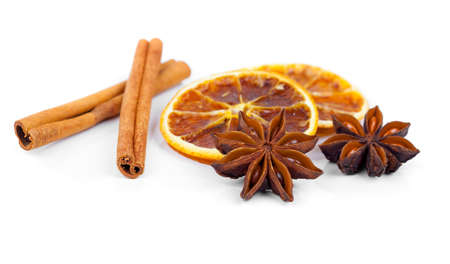 badiane: dry orange, cinnamon and Star Anise with copy space, on white background
