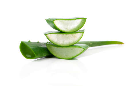 aloe vera fresh leaf. isolated over white Stock Photo