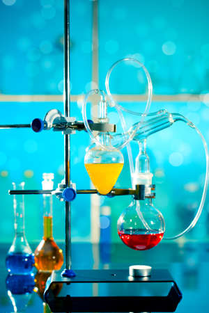apparatus: glass laboratory apparatus with liquid samples