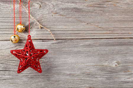boldog karácsonyt: Christmas decoration on wood background, with free space for your text