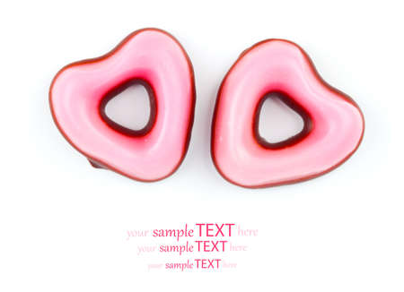 pink heart cookies  for valentines day, on white background photo