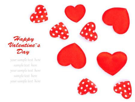Little hearts, polka dots on white . photo