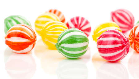 hard candy: colored candies isolated on white. Stock Photo