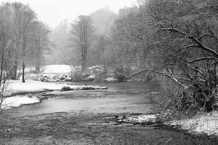 central europe: Weisse Elster River in the fog in winter, with trees, Germany. The White Elster is a 257 kilometres long river in central Europe