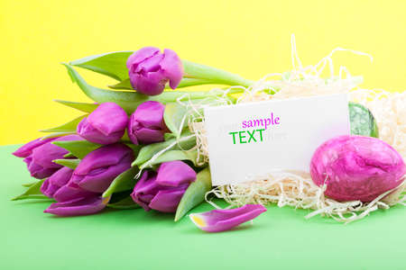 easter eggs and tulips and blank for text photo