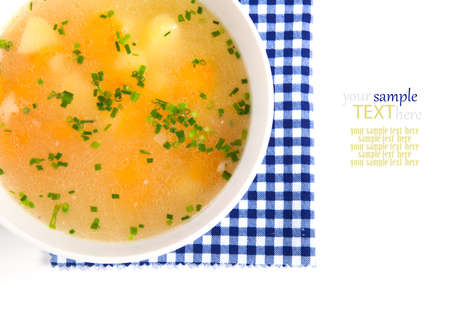 Vegetable soup on a white background photo