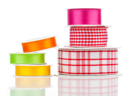 favours: Many bright ribbons isolated on white Stock Photo