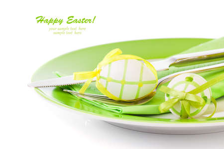 paper plates: Easter eggs in a plate, on a white background