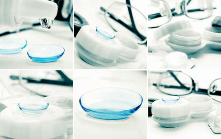 shortsightedness: swt of green contact lenses in container with solution. Stock Photo