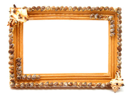 tableau: wooden frame for photo, isolated on white background Stock Photo
