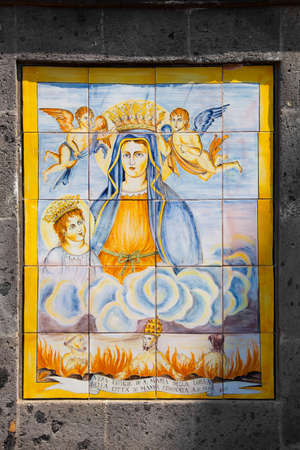 catholic mass: outdoor traditional italy hand painted tiles