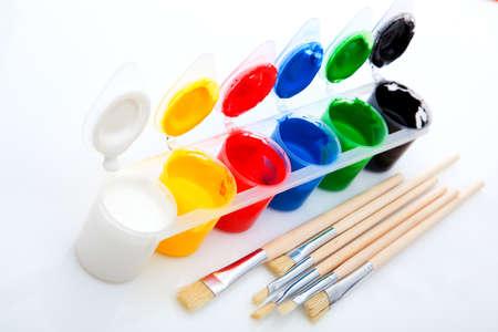 acryle: Paints and brushes, on White Background