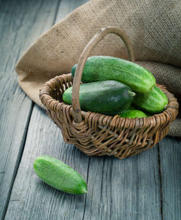harvest background: Harvest cucumbers in a basket on the wooden background
