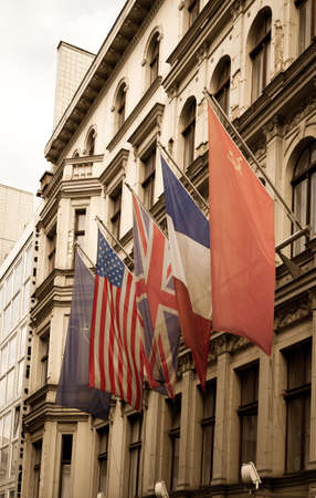 allied: Allied flags in Checkpoint Charlie, Berlin