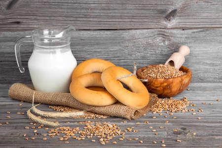 bublik: Russian or Ukrainian donut (Bublik) on wooden background Stock Photo