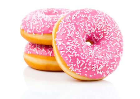 Pink Donut Isolated On White Background 스톡 콘텐츠