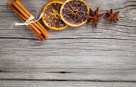 anisetree: dry orange, cinnamon and Star Anise with copy space