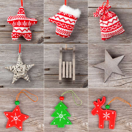 Christmas decoration set, on wooden background photo