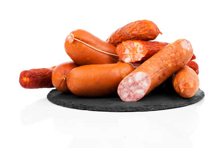 smoked sausage: Smoked sausage on a string. Isolated on white background