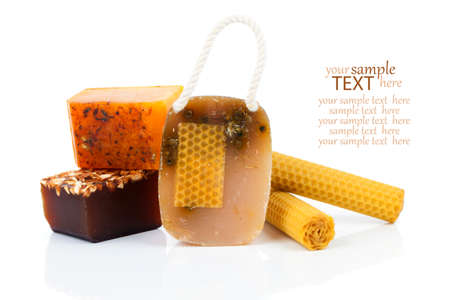 honey handmade soap, Isolated on white background photo