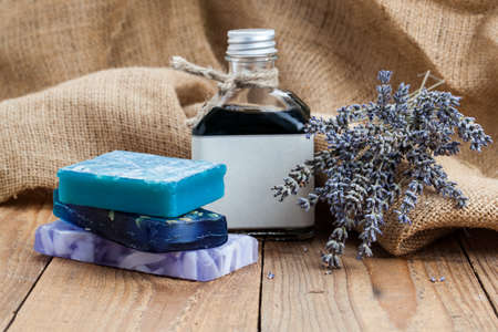 handmade lavender soap,  on wooden background photo