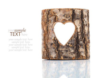 hollow tree: heart cut in hollow tree trunk. on white background